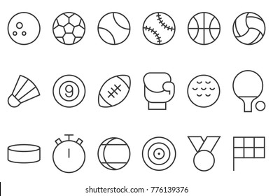 sports icon set, such as football, basketball, badminton, bowling, boxing, flag, stopwatch, thin line design