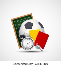 Sports icon. Soccer ball, whistle with a stopwatch, yellow and red card referee. Stock vector illustration.