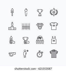 sports icons flat line design vector