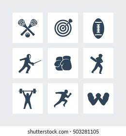 sports icons isolated on white, archery, boxing, lacrosse, cricket, sprint running, arm wrestling, fencing, football, vector illustration
