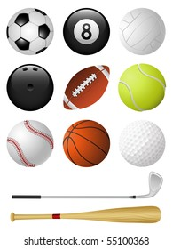 Sports icons isolated on white. Vector illustration.