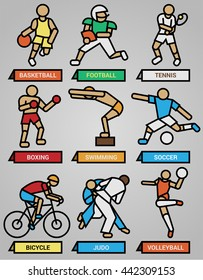 Sports icons of people doing sport in retro look with black thick line in vector format