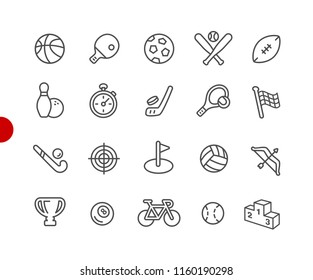 Sports Icons // Red Point Series - Vector line icons for your digital or print projects.
