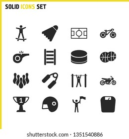 Sports icons set with basketball balls, bike and tourniquet elements. Set of sports icons and sport concept. Editable vector elements for logo app UI design.