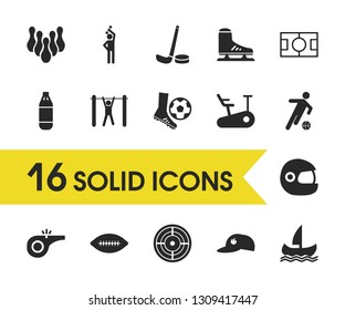 Sports icons set with boxing, soccer player and skittles elements. Set of sports icons and weightlifter concept. Editable vector elements for logo app UI design.