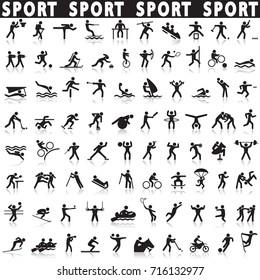 Sports icons set.Sport popular.