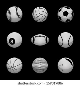 Sports Icons Silver Icon Set