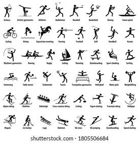 Sportsymbole. Vektoreinzelne schwarze Piktogramme mit den Namen der Sportdisziplinen