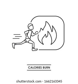 Sports image. Pictograph of losing calories. Image of a person running and the symbol of fire. Sport and healthy life.
