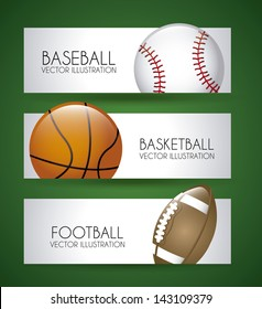 sports labels over green background vector illustration