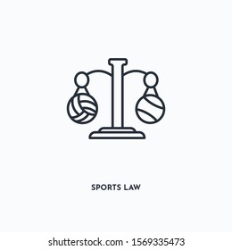 Sports law outline icon. Simple linear element illustration. Isolated line Sports law icon on white background. Thin stroke sign can be used for web, mobile and UI.