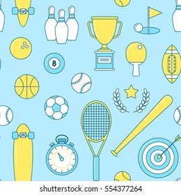 Sports line seamless pattern. Colorful illustration with baseball, longboard and football