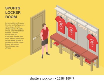 Sports locker room banner. Isometric illustration of sports locker room vector banner for web design