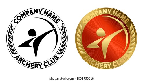 Sports logo for any archery club. Round sign with a dynamic swooshes in the shape of a bowman. Simple pictogram of archer aiming a stretched bow. Black stamp with a decor of leaves and gold red medal.