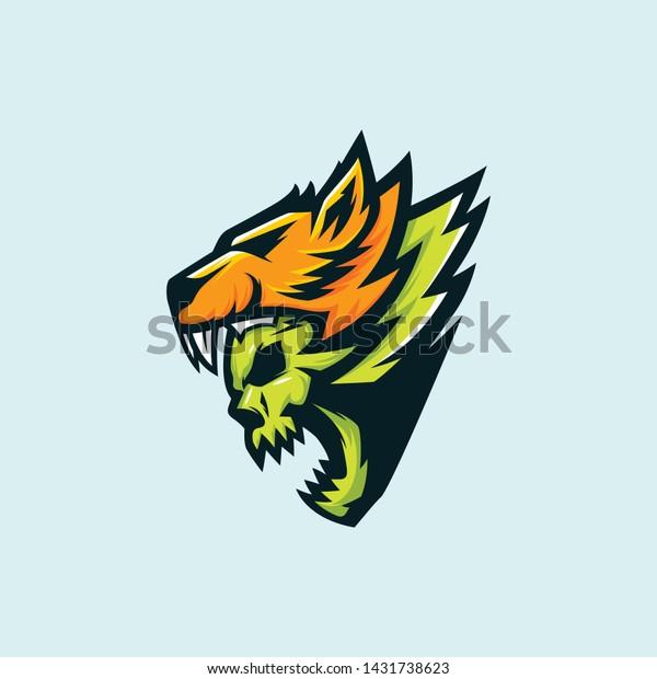 Sports Logo Gaming Demon Evil Lion Stock Vector (Royalty