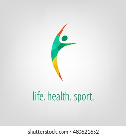 Sports logo, geometric shapes, bright, color sign. Leap, a healthy lifestyle, flexibility