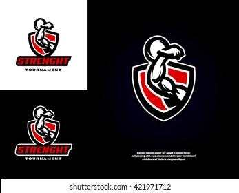 Sports logo template with the image of a muscular arm, which holds the weight