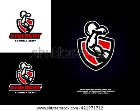 sports logo template image muscular arm のベクター画像素材