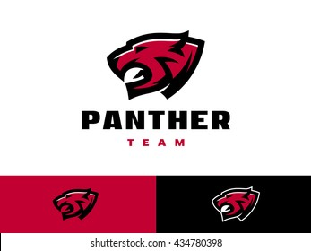 Sports logo template with the image of the wild cat