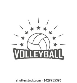 Sports logo volleyball club. Ball rays and stars with text. Black and white illustration on a sports theme.