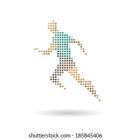 Sports man running abstract isolated on a white backgrounds, vector illustration