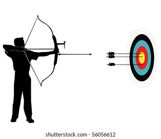 Sports marksman from onions on a target on a white background