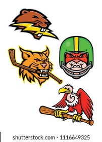 Sports mascot icon illustration set of  of American wildlife like North American beaver with lightning bolt, bobcat with ice hockey stick, bulldog wearing gridiron helmet, Condor with baseball bat.