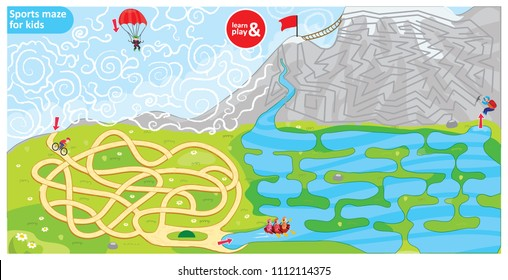 Sports maze game for kids. Puzzle for development logic in children. Sports theme maze bike, parachute, rowing and climbing. Use for educational books, board games, wallpapers. Vector illustration.
