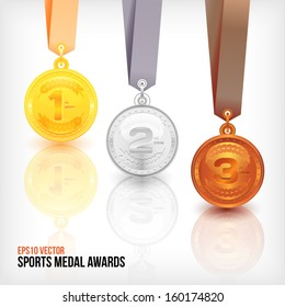 Sports Medal Awards. Vector Illustration.