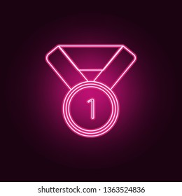 sports medal for first place icon. Elements of Sucsess and awards in neon style icons. Simple icon for websites, web design, mobile app, info graphics