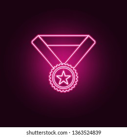 sports medal with a star icon. Elements of Sucsess and awards in neon style icons. Simple icon for websites, web design, mobile app, info graphics