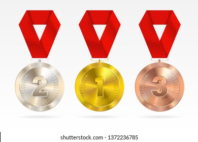 Sports medals kit. Golden silver bronze medal with red ribbon. Champion winner awards of honor. Colorful background for design. Set. All elements are isolated.EPS 10.