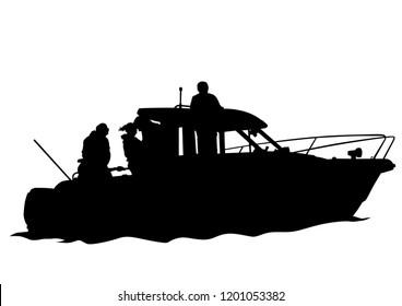 Sports motor boat on white background