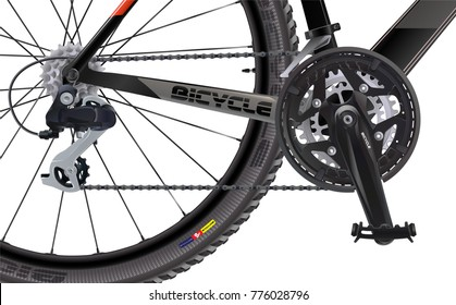 Sports mountain bike. Side view. High quality realistic vector. A set of chain sprockets for a bicycle.