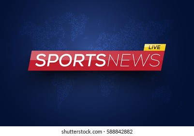 Sports News Live on World Map Background. Vector Illustration.