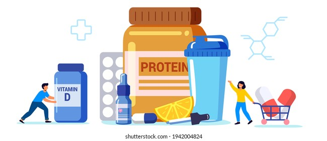 Sports nutrition Anabolic steroids Doping test Protein cocktail  Nutrition help replenish body vitamin supply Healthy food diet vector concept metaphor Illustration Food supplements and vitamins