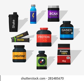 Sports nutrition icons in flat style and long shadow. Detailed flat style