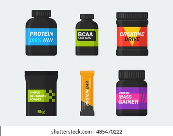 Sports nutrition and supplements vector set isolated from the background. Icons protein, BCAA, creatine, glutamine, gainer and protein bars in a flat style. Symbols bodybuilding.