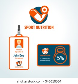 Sports nutrition vector illustration and corporate style elements: badge and discount card (free fonts Jockey One and Roboto used)