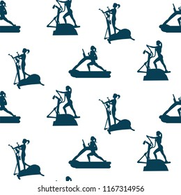 Sports pattern - female athletes on a stepper and a treadmill - white background - vector