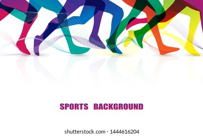 Sports people running. Marathon. Close Up colorful leg graphic. Illustration vector