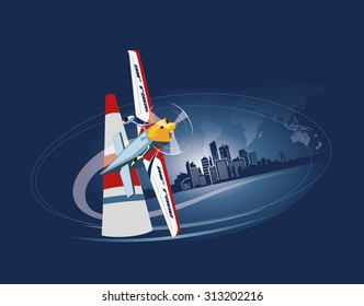 Sports plane on red bull air racing