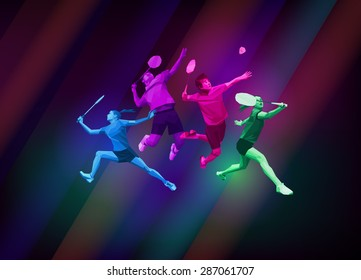 Sports poster with badminton players team, colorful on dark background. Trendy polygons, vector illustration