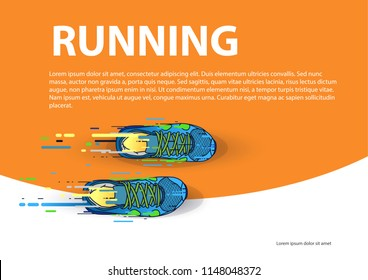 Sports poster running event: Multicolored running shoes on orange background. Vector