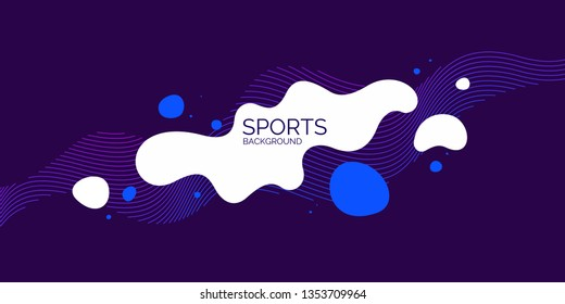 Sports poster. Trendy abstract background. Composition of amorphous forms and lines. Vector illustration