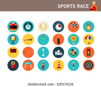 Sports Race concept flat icons.