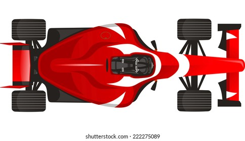 Sports Racing car, with red vector illustration.