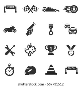 Sports racing. Competition on cars and motorcycles. Monochrome icons.