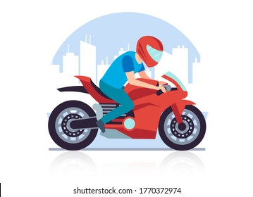 Sports racing motorcycle. Racer against backdrop of cityscape rushes at high speed on red big heavy motorbike cartoon flat style illustration on white background