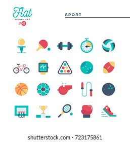 Sports, recreation, work out, equipment and more, flat icons set, vector illustration